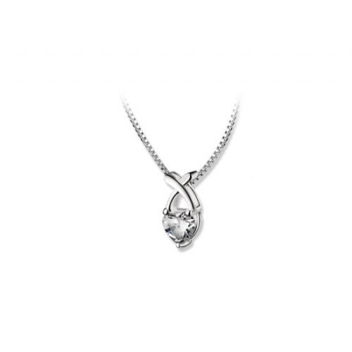 Newbridge Silverware Clear Stone Heart Pendant